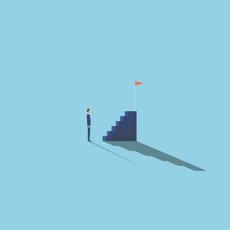 Business motivation and ambition vector concept with businessman in front of stairs. Symbol of planning, strategy, goals, objectives, targets. Eps10 vector illustration. Stock Illustratie