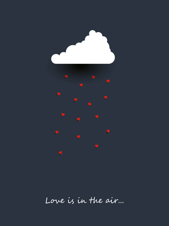 Valentine day card template with cloud raining hearts. Romantic adorable minimalist cartoon. Love symbol. Eps10 vector illustration. Stock Illustratie