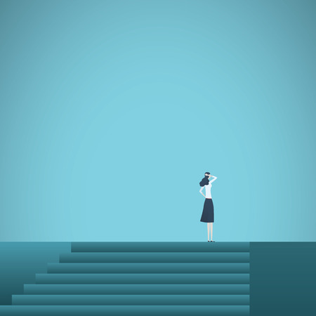 Business career achievement vector concept with businesswoman standing on top of stairs. Symbol of corporate ladder, promotion, success, motivation and ambition. Eps10 vector illustration.