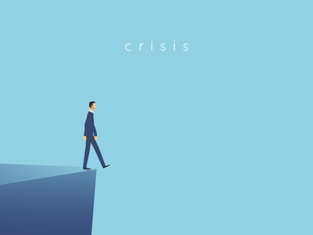 Business crisis or failure vector concept with businessman walking off a cliff. Symbol of bankruptcy, recession, financial problems. Eps10 vector illustration. Stock Illustratie