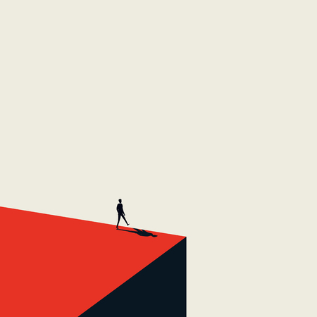 Business failure and bankruptcy vector abstract concept with businessman walking over the edge of a cliff. Artistic minimialist style. Symbol of depression, decline, recession. Иллюстрация