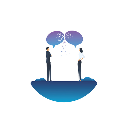 Communication breakdown business vector concept with businessman and businesswoman arguing. Symbol of argument, discussion, different opinions, negotiation and conversation. Eps10 vector illustration. 版權商用圖片 - 125178590