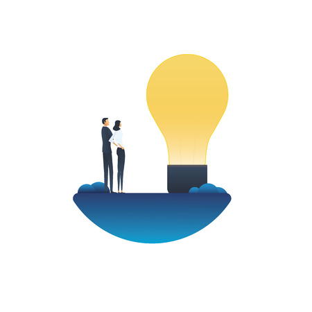Business creativity vector concept with businessman and businesswoman looking at lightbulb. Symbol of creative solutions, teamwork, brainstorming. Eps10 vector illustration.
