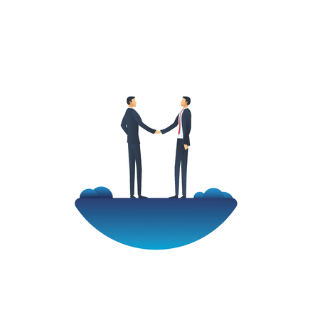 Business deal vector concept with businessman handshake. Symbol of negotiation, agreement, success and trust. Eps10 vector illustration.