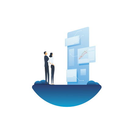 Business report and analysis vector concept with businessman and businesswoman looking at document. Symbol of planning, strategy, data analytics and management. Eps10 vector illustration.