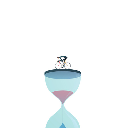 Business project deadline vector concept with businessman racing against clock, hourglass. Symbol of stress, being under pressure, management and urgency. Eps10 vector illustration. Stock Illustratie