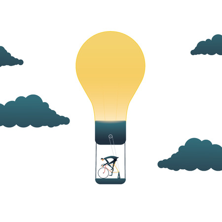 Business creativity vector concept with businessman powering lightbulb. Symbol of original, creative, think outside the box solutions and innvoations. Eps10 vector illustration. Stock Illustratie