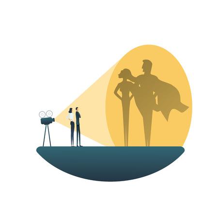Concept de vecteur d'équipe de super-héros d'affaires. Homme et femme d'affaires. Symbole de pouvoir, de force, de leadership, de courage et de travail d'équipe.