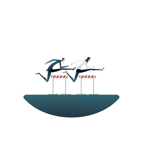Business competition vector concept with businesswoman and businessman jumping hurdles. Symbol of contest, race, motivation, challenge. Eps10 vector illustration.
