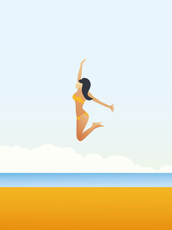 Sexy young woman in bikini jumps over beach vector cartoon. Summer holiday or vacation poster, leaflet, flyer template for carefree, fun, active lifestyle. Stockfoto - 122855435
