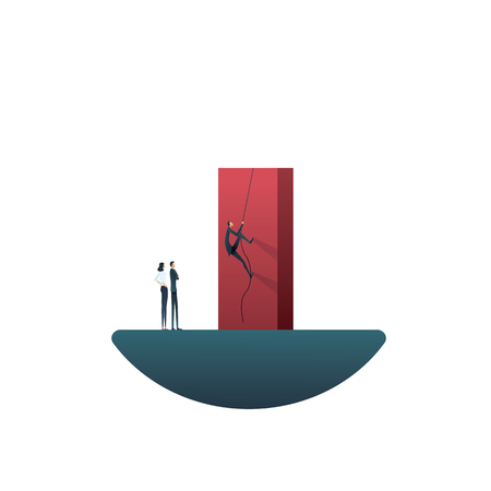 Business teamwork challenge and overcoming obstacles vector concept. Symbol of team, goals, mission objectives, motivation, leadership and success. Eps10 vector illustration.