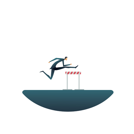 Overcome challenges in business vector concept. Businessman jumping over hurdles or obstacles. Symbol of determination, aspiration, ambition, motivation and success. Eps10 vector illustration. Foto de archivo - 124930910