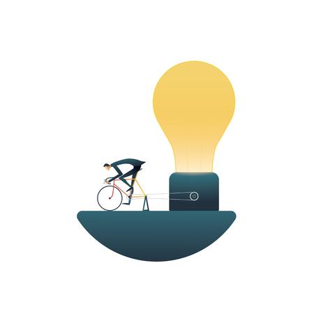 Concepto de vector de negocio de soluciones creativas con el empresario encender la bombilla en una bicicleta. Símbolo de pensamiento creativo, fuera de la caja, lluvia de ideas, nuevas ideas, innovaciones y éxito. Ilustración de vector Eps10.