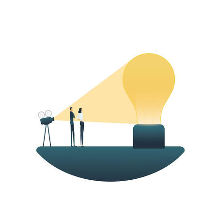 Creative solutions and outside the box thinking business vector concept. Symbol of creativity, teamwork, new ideas, innovations. Eps10 vector illustration.