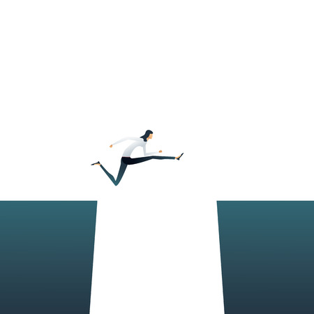 Overcome challenges for businesswoman business vector concept. Woman jumping over gap. Symbol of emancipation, feminism, career progress. Eps10 vector illustration.