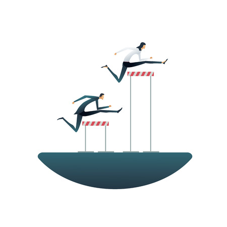 Business gender inequality vector concept with businessman and businesswoman with different obstacles. Symbol of discrimination, unequal opportunities, obstacles and rights. Eps10 vector illustration. Illustration