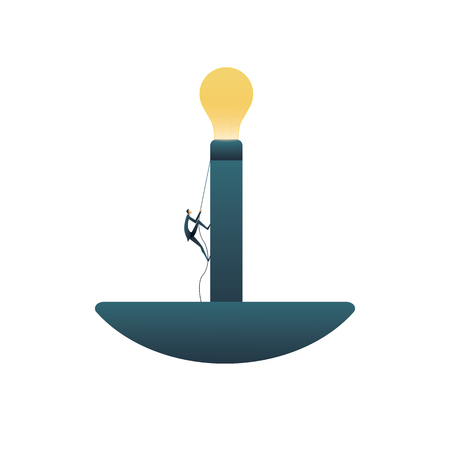 Business creative solutions vector concept with businessman climbing towards lightbulb. Symbol of new ideas, thinking outside the box, brainstorming, invention and innovation. Eps10 vector illustration. Illustration