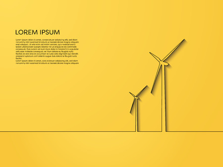 Wind turbine vector concept, line art on yellow background. Symbol of renewable power, alternative sources, new, clean technology. Illustration