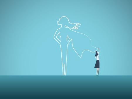 Geschäftsambitionen und Motivationsvektorkonzept mit Geschäftsfrau, die Superhelden an Wand zeichnet. Symbol für Vertrauen, Karrierewachstum, Macht, Stärke, Feminismus und Emanzipation.