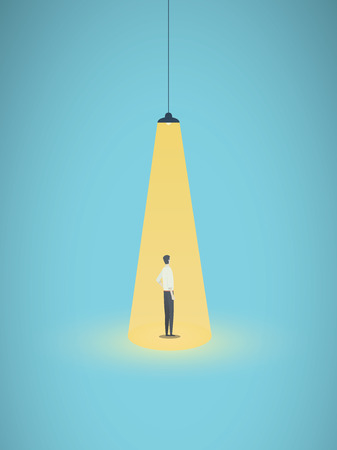 Business hiring and recruitment vector concept with businessman standing in bright yellow spotlight. Symbol of new career, headhunting, employment, new opportunity.