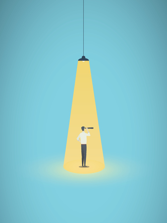 Business recruitment and headhunting vector concept with businessman in spotlight. Symbol of visionary, career opportunity, searching for exceptional talent individual. Eps10 illustration.