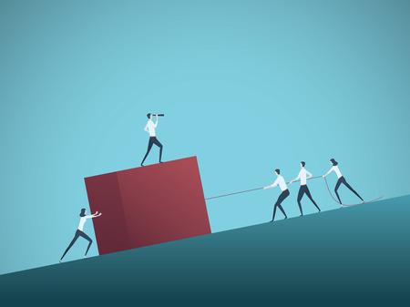 Bedrijfsgroepswerk en leidersvectorconcept met zakenlieden en vrouwen die kubus bergopwaarts trekken. Symbool van leiderschap, motivatie, ambitie, teaminspanning, groei en succes. Eps10 illustratie.
