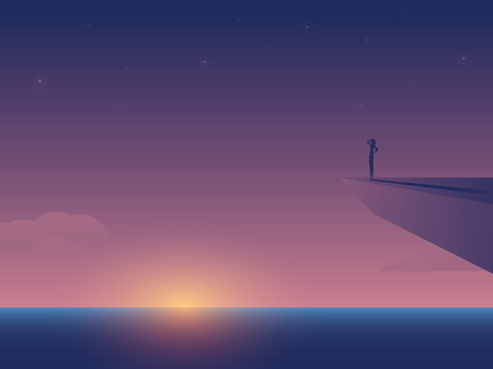 Summer sunset over ocean vector concept with woman standing on rock cliff. Symbol of outdoor adventure, climbing, nature, travel, wanderlust. Eps10 illustration. Illustration