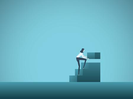 Zakelijke groei en loopbaanontwikkeling vector concept met zakenvrouw bouwstappen. Symbool van carrièreladder, promotie, succes, opkomst, ambitie en motivatie. Eps10 illustratie.