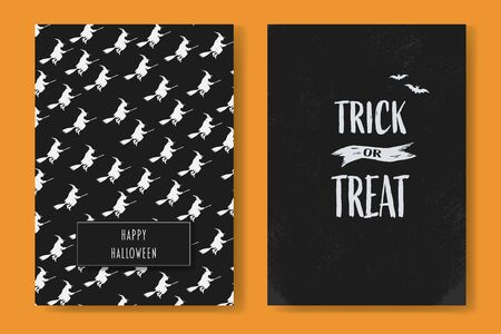 Halloween card set with two holiday postcards with pattern and trick or treat text. Symbol of seasonal holiday, party invitation. Eps10 illustration. Stock Illustratie