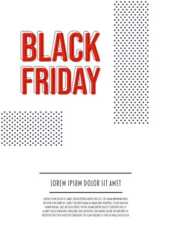 Black Friday sale vector banner poster template with retro polka dot design. Discounts, special offers, deals promotion and advertising.