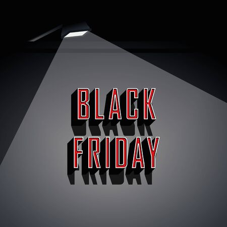 Black friday sale banner vector template with spotlight on retro vintage lettering title. Shopping, discounts, special offers and deals promotion and advertising. Çizim