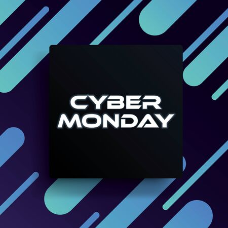 Cyber monday sale vector banner template with 3d shapes and modern design. Special offers for digital, online stores, discounts and deals promotion and advertising. Çizim