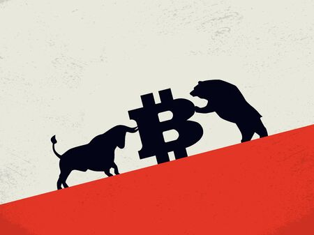 Bear vs bull on bitcoin cryptocurrency market vector concept. Symol of investment, buy, sell strategy, profit and loss. Фото со стока - 131852654