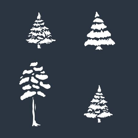 Set of winter trees in negative space style, hand drawn vector cartoon. Seasonal nature tree icons with snow covered branches.