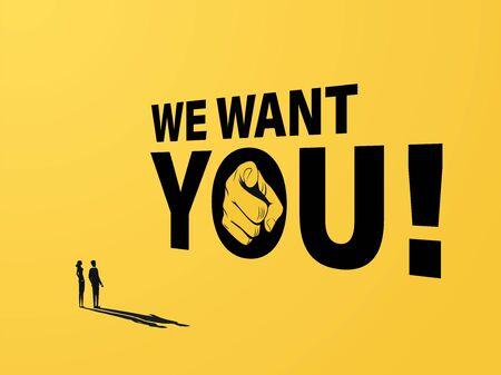 Assunzione di banner pubblicitari o concetto di vettore di poster con segno e mano che indica alle persone. Reclutamento, promozione di posti di lavoro vacanti. Vettoriali