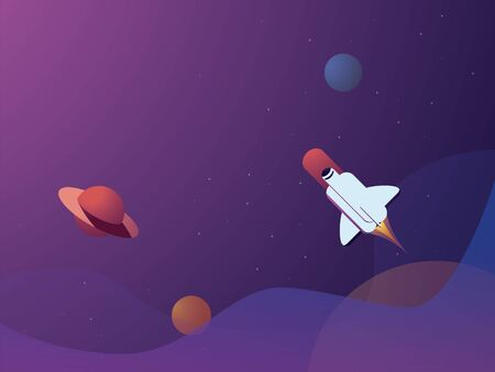 Space scene vector background with planets and space shuttle flying in space. Website banner or wallpaper.