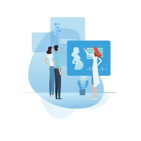 Medical check, consultation on pregnancy or ivf method presentation vector concept. Couple and a doctor.