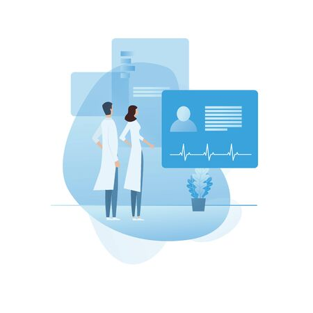 Doctors discussing patient together vector concept icon. Medical professionals, colleagues, teamwork. Health care symbol