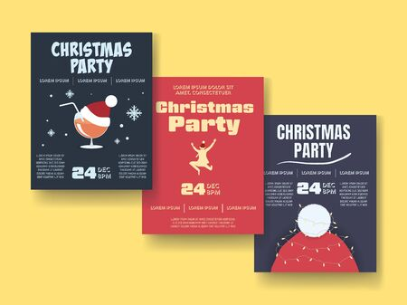 Christmas party posters or flyers vector template with different illustrations. Office party banners for fun. Drinks, beverages, dancing and crazy party. eps10 illustration.