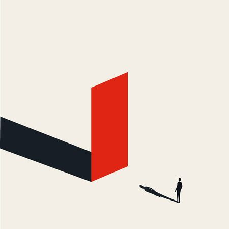 Business obstacle or challenge vector concept with businessman in front of the wall 일러스트