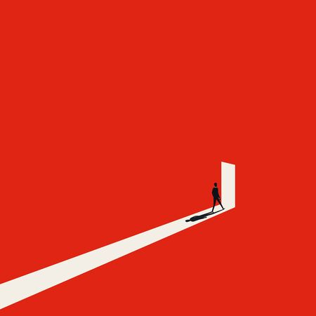 Business opportunity or career success vector concept with man walking into door with light. Ilustrace
