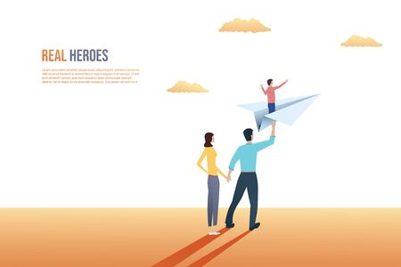 Family vector concept with parents and child on paper plane. Symbol of future, hope and happiness in being together. Eps10 illustration.