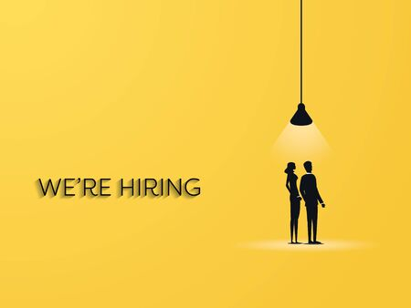 Hiring vector concept with man and woman under spotlight. Job and career opportunity advertisement banner.