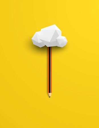 Creativity vector concept with realistic pencil and cloud. Symbol of innovation, creative thinking, brainstorming. Minimalist composition design, flat lay. Eps10 illustration.