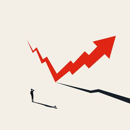 Financial markets recovery vector concept with arrow rising after fall. Symbol of hope, success and growth. Positive financial outlook after recession, crisis. Eps10 illustration. Ilustración de vector
