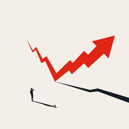 Concept de vecteur de reprise des marchés financiers avec flèche montant après l'automne. Symbole d'espoir, de succès et de croissance. Perspectives financières positives après récession, crise. Illustration Eps10. Vecteurs