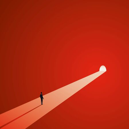 Light at the end of the tunnel vector concept. Symbol of dark times ending, hope on horizon, future success