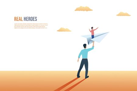Father and son relationship vector concept. Father sending son on paper plane to future, giving hip support.