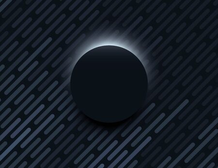Minimal black vector background with dark 3d circle with light behind it. Product presentation or dark wallpaper.