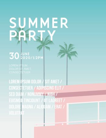 Summer party or festival vector poster template with retro vintage pink hotel. Leaflet or flyer template with copy space